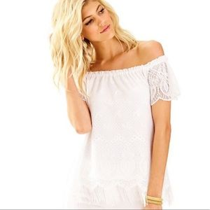 Lilly Pulitzer Marble Lace Off The Shoulder Top